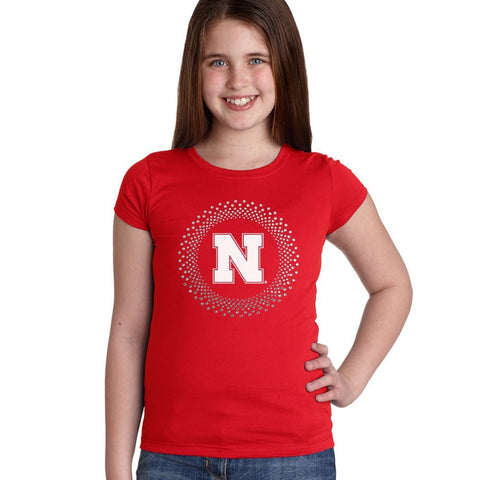 Nebraska N Circle Burst Rhinestones Youth Girls Tee Shirt