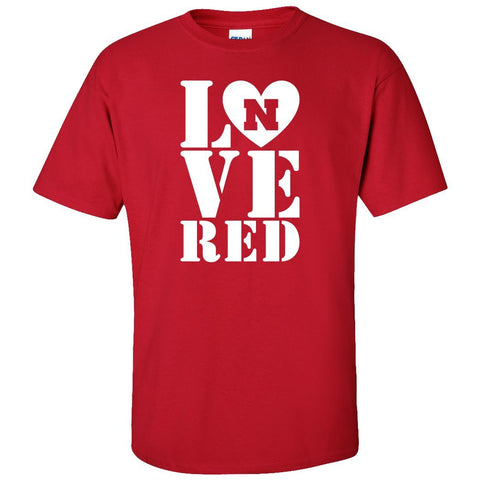 Nebraska Cornhuskers Stacked LOVE N RED Tee Shirt