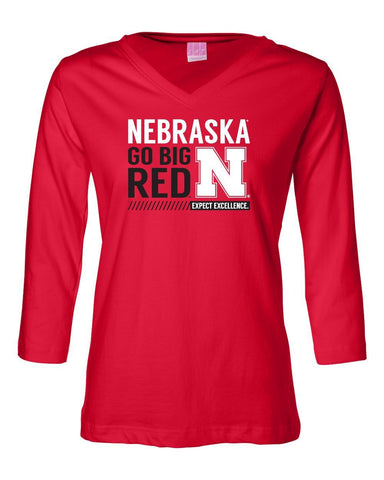 "Women's Nebraska Cornhuskers ""Expect Excellence"" 3/4 Sleeve V-Neck Top"