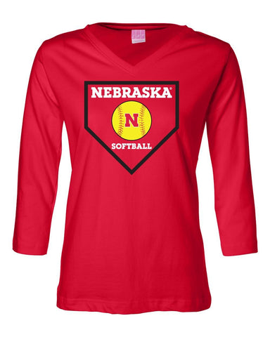 Women's Nebraska Huskers Softball Home Plate 3/4 Sleeve V-Neck Top