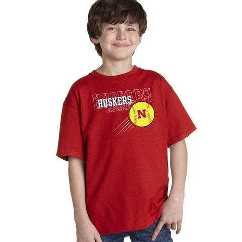 "Nebraska ""HUSKERS x 3"" Softball Youth Boys Tee Shirt"