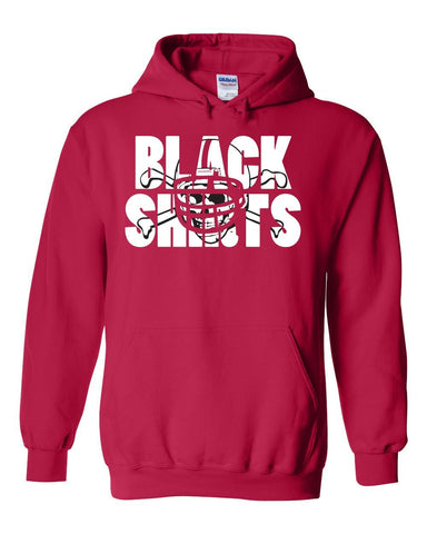 Nebraska Cornhuskers Football BLACKSHIRTS on Red Hooded Sweatshirt