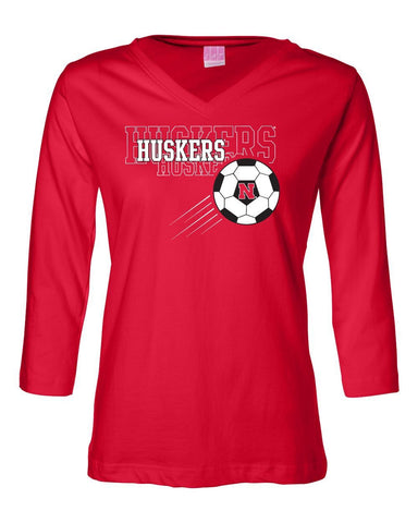 Women's Nebraska Huskers Soccer 3/4 Sleeve V-Neck Top