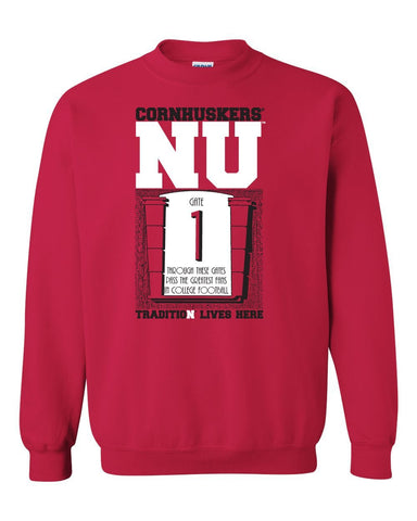 "Nebraska Cornhuskers Football Tradition Lives Here ""Gate 1"" Crewneck Sweatshirt"