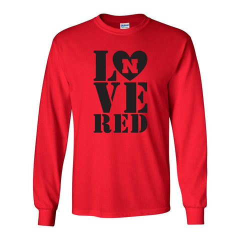 Nebraska Cornhuskers Stacked LOVE N RED Long Sleeve Tee Shirt