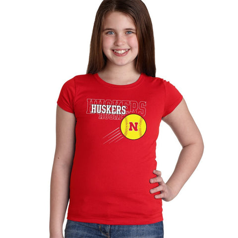 Nebraska Huskers x 3 Softball Youth Girls Tee Shirt