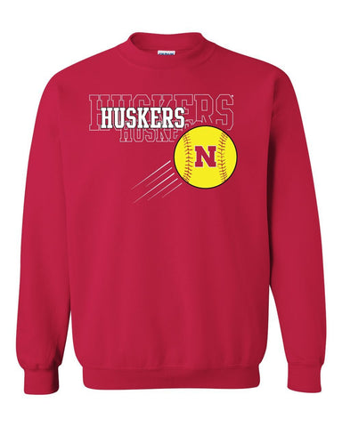 Nebraska Huskers x 3 Softball Crewneck Sweatshirt