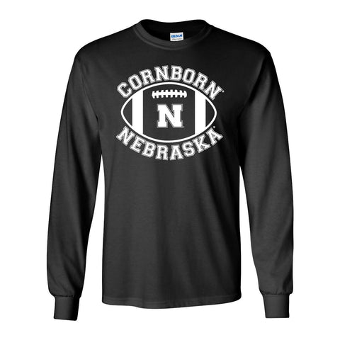 "Nebraska Cornhuskers ""CornBorn N Nebraska"" Football Long Sleeve Tee Shirt"