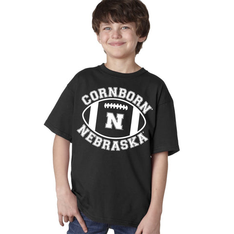 "Nebraska Cornhuskers ""CornBorn N Nebraska"" Football Youth Boys Tee Shirt"