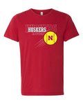 Premium Ultra-Soft Tri-Blend Nebraska Huskers x 3 Softball Tee Shirt