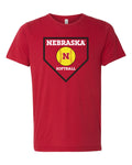Premium Ultra-Soft Tri-Blend Nebraska Huskers Softball Home Plate Tee Shirt