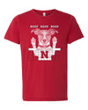 Nebraska Husker Volleyball Spike Dog ROOF ROOF ROOF Premium Tri-Blend Tee Shirt