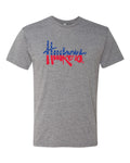 Nebraska Tee Shirt Premium Tri-Blend Red White And Blue Script Huskers