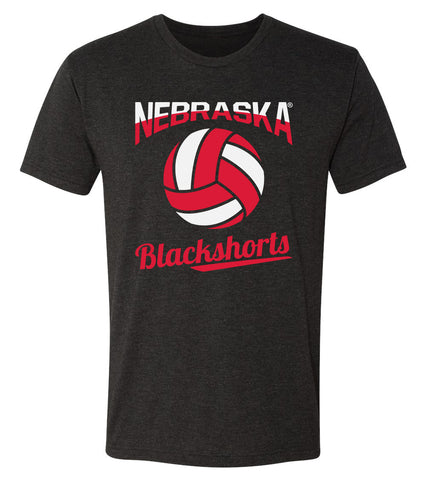Nebraska Huskers Premium Tri-Blend Tee Shirt - Nebraska Volleyball Blackshorts