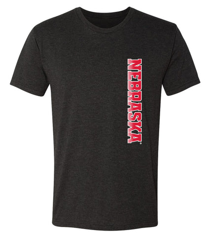 Nebraska Huskers Premium Tri-Blend Tee Shirt - Vertical Nebraska Red & White Fade