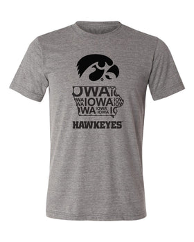 Iowa Premium Tri-Blend Tee Shirt - Iowa Hawkeye State Outline