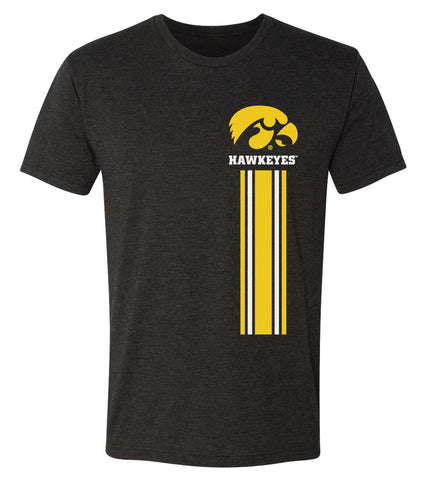 Iowa Hawkeyes Premium Tri-Blend Tee Shirt - IOWA Hawkeyes Vertical Stripe with Tigerhawk