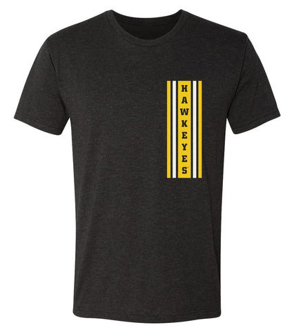 Iowa Hawkeyes Premium Tri-Blend Tee Shirt - Vertical Stripe with HAWKEYES