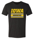 Iowa Hawkeyes Premium Tri-Blend Tee Shirt - Horizontal Stripe Italic Iowa HAWKEYES