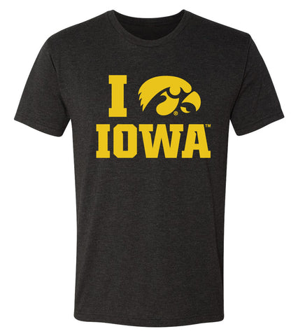 Iowa Hawkeyes Premium Tri-Blend Tee Shirt - I Love IOWA