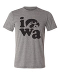 Iowa Hawkeyes Premium Tri-Blend Tee Shirt - Iowa Stacked