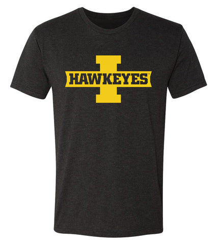 Iowa Hawkeyes Premium Tri-Blend Tee Shirt - Block I with HAWKEYES