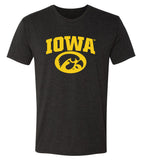 Iowa Hawkeyes Premium Tri-Blend Tee Shirt - Arched IOWA with Tigerhawk Oval
