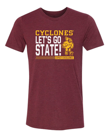Iowa State Cyclones Premium Tri-Blend Tee Shirt - Let's Go State - Expect Excellence