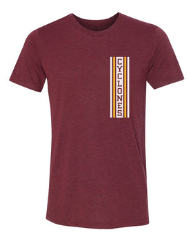Iowa State Cyclones Premium Tri-Blend Tee Shirt - Vertical Stripe CYCLONES