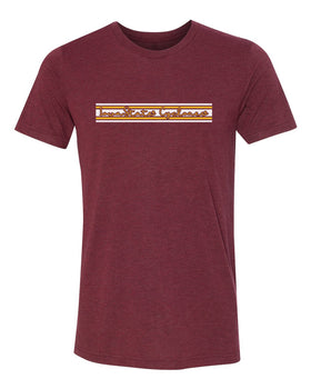 Iowa State Cyclones Premium Tri-Blend Tee Shirt - Horizontal Stripe Script Iowa State Cyclones