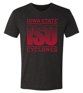Iowa State Cyclones Premium Tri-Blend Tee Shirt - ISU Fade Red on Black