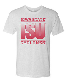 Iowa State Cyclones Premium Tri-Blend Tee Shirt - ISU Fade Red on White