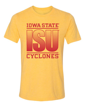 Iowa State Cyclones Premium Tri-Blend Tee Shirt - ISU Fade Red on Gold