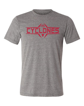 Iowa State Cyclones Premium Tri-Blend Tee Shirt - Striped CYCLONES Football Laces