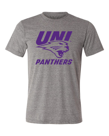 Northern Iowa Panthers Premium Tri-Blend Tee Shirt - Purple UNI Panthers Logo on Gray