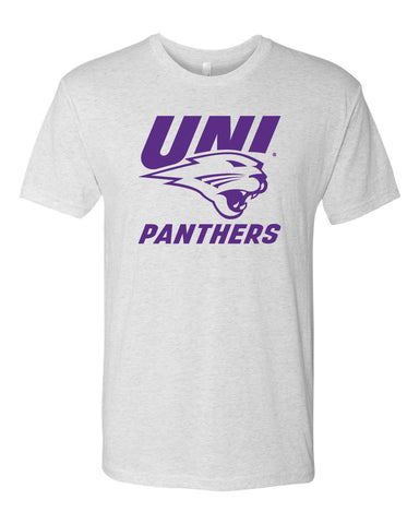 Northern Iowa Panthers Premium Tri-Blend Tee Shirt - Purple UNI Panthers Logo on White