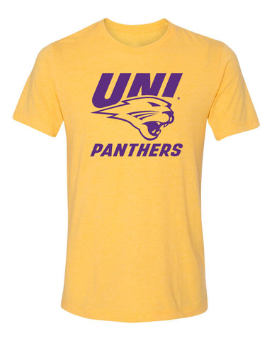Northern Iowa Panthers Premium Tri-Blend Tee Shirt - Purple UNI Panthers Logo on Gold