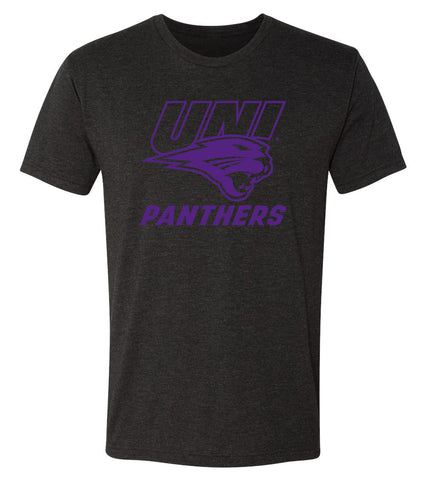 Northern Iowa Panthers Premium Tri-Blend Tee Shirt - Purple UNI Panthers Logo on Black