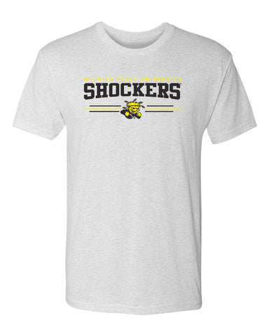 Wichita State Shockers Premium Tri-Blend Tee Shirt - Wichita State Shockers 3 Stripe