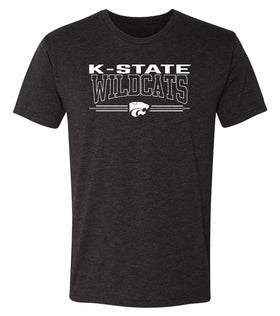 K-State Wildcats Premium Tri-Blend Tee Shirt - Wildcats with 3-Stripe Powercat