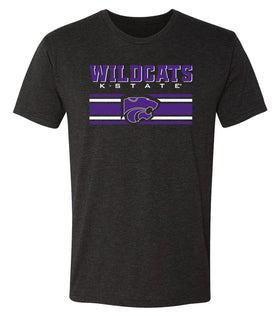 K-State Wildcats Premium Tri-Blend Tee Shirt - Wildcats Stripe Powercat