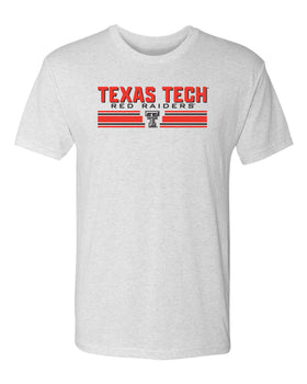 Texas Tech Red Raiders Premium Tri-Blend Tee Shirt - Double T Horiz Stripe