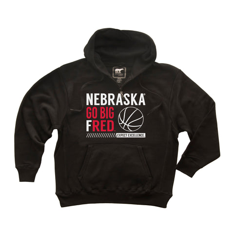 Nebraska Huskers Premium Fleece Hoodie - Go Big Fred Husker Basketball
