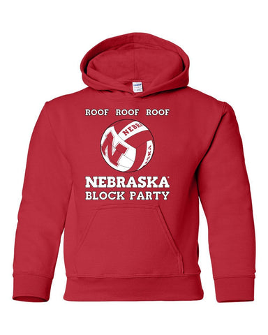 Nebraska Huskers Volleyball ROOF ROOF ROOF Youth Hooded Sweatshirt
