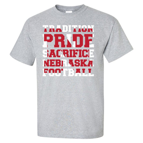 "Nebraska Cornhuskers Football ""TRADITION PRIDE SACRIFICE"" Tee Shirt"