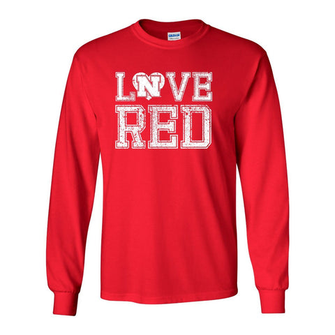 "Nebraska Cornhuskers Hero ""LOVE RED"" Long Sleeve Tee Shirt"