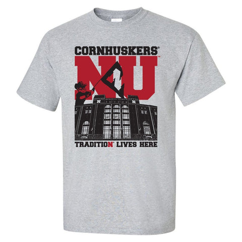 "Nebraska Cornhuskers Football Tradition Lives Here ""West Stadium"" Tee Shirt"