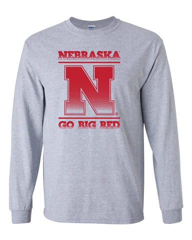 "Nebraska Cornhuskers ""Nebraska N GO BIG RED"" Long Sleeve Tee Shirt"