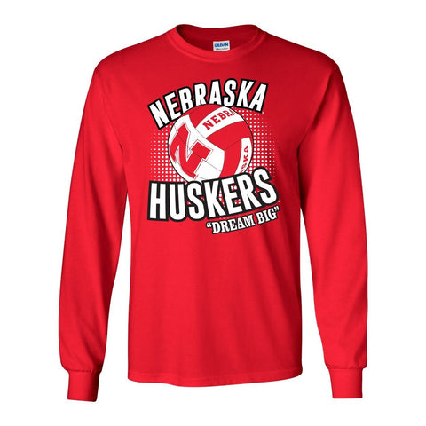 "Nebraska Huskers Volleyball ""Dream Big"" Long Sleeve Tee Shirt"