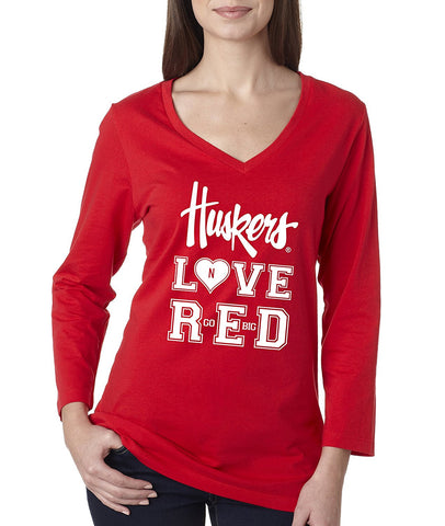 "Women's Nebraska Cornhuskers ""Huskers LOVE RED"" Missy 3/4 Sleeve V-Neck Shirt"